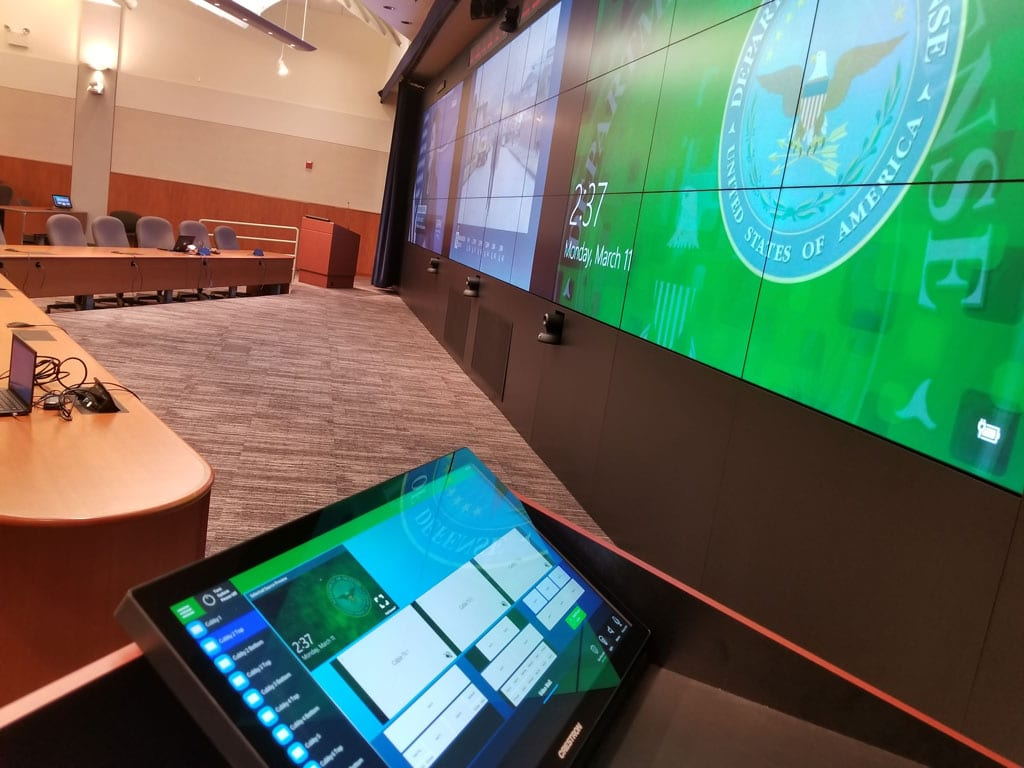 Video walls in federal presentation room