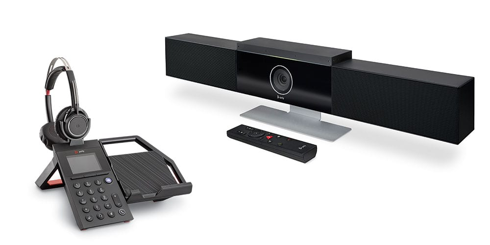Office phone, headset and Studio video conferencing appliance from Poly.