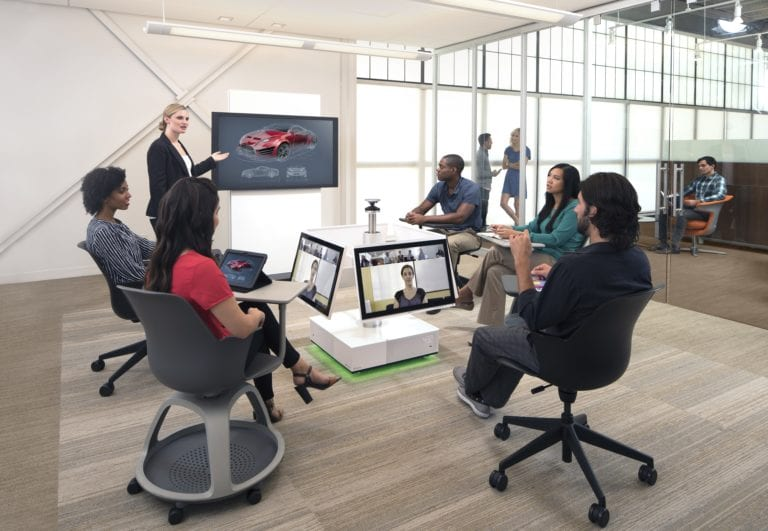 Meeting with multiple video screens