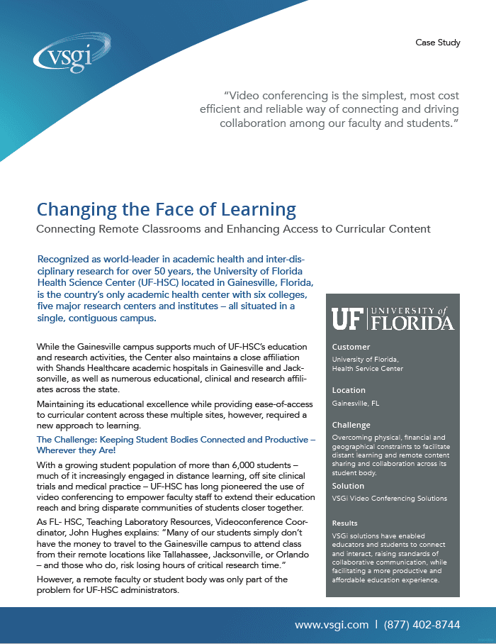 Case Study: Distance Learning at University of Florida Health Services